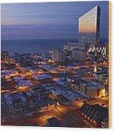 Atlantic City At Dawn Wood Print