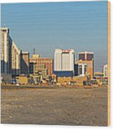 Atlantic City At Sunset Wood Print by Olivier Le Queinec