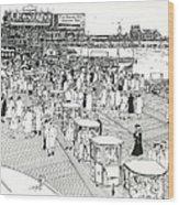 Atlantic City Boardwalk 1940 Wood Print