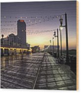 Atlantic City Boardwalk In The Morning Wood Print