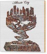 Atlantic City Rusty Skyline Wood Print