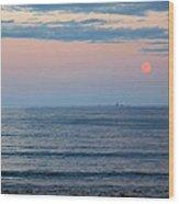 Atlantic Moon Rise Wood Print by Barbara McDevitt