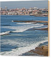 Atlantic Ocean Coast In Cascais And Estoril Wood Print