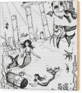 Atlantis Mermaids Wood Print