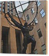 Atlas Holds The Heavens Wood Print