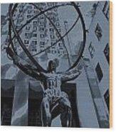 Atlas Rockefeller Center Poster Wood Print