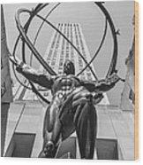 Atlas Statue Rockefeller Center Wood Print