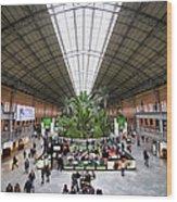 Atocha Railway Station Interior In Madrid Wood Print