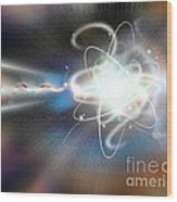 Atom Collision Wood Print by Mike Agliolo
