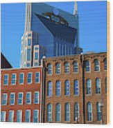 At&t Building And Historic Red Brick Wood Print