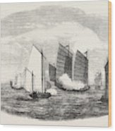Attack On A Chinese Piratical Fleet By The Boats Of H Wood Print