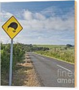Attention Kiwi Crossing Roadsign At Nz Rural Road Wood Print