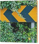 Attention Road Sign  Wood Print