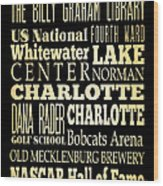 Attractions And Famous Places Of Charlotte North Carolina Wood Print by Joy House Studio