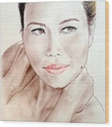Attractive Asian Woman With Her Hair Pulled Back Wood Print