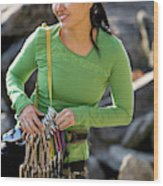 Attractive Female Climber Adjusting Wood Print