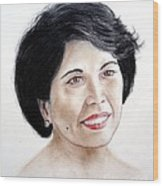 Attractive Filipina Woman With A Facial Mole Wood Print
