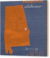 Auburn University Tigers Auburn Alabama College Town State Map Poster Series No 016 Wood Print
