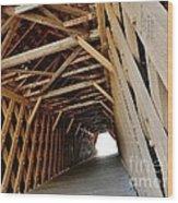 Auchumpkee Creek Covered Bridge Inside View Wood Print