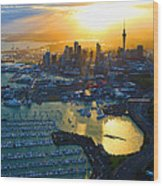 Auckland Oil On Canvaz Wood Print