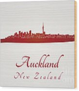 Auckland Skyline In Red Wood Print