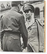 Audie Murphy Shaking Hands With French Wood Print