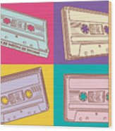 Audio Cassettes Wood Print
