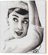 Audrey Hepburn 2 Wood Print by Rosalinda Markle