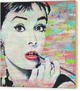 Audrey Hepburn Art Breakfast At Tiffany's Wood Print