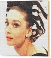 Audrey Hepburn In Watercolor Wood Print