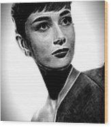 Audrey Hepburn - Black And White Wood Print