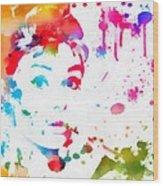 Audrey Hepburn Paint Splatter Wood Print