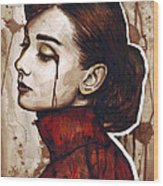 Audrey Hepburn Portrait Wood Print by Olga Shvartsur