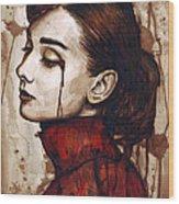 Audrey Hepburn - Quiet Sadness Wood Print