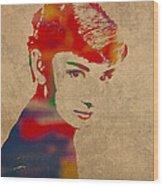 Audrey Hepburn Watercolor Portrait On Worn Distressed Canvas Wood Print