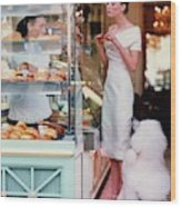 Audrey Marnay At A Patisserie With A Poodle Wood Print