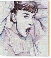 Audrey - Purple Scream Wood Print