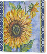 Audrey's Sunflower With Boarder Wood Print