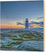 August Sunset At Peggy's Cove 2 Wood Print