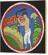 August - Threshing Wheat Wood Print