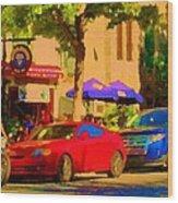 Aupres De Ma Blonde Resto Bar Terrasse Rue St Denis Montreal Cafe Street Scene Art Carole Spandau Wood Print