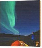 Aurora Borealis Above A Tent And Camper Wood Print