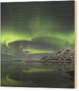 Aurora Borealis From The Beach Wood Print