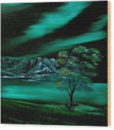 Aurora Borealis In Oils. Wood Print by Cynthia Adams