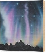 Aurora Borealis in the Rockies Wood Print