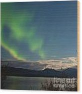 Aurora Borealis Moon-lit Clouds Over Lake Laberge Wood Print