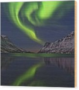 Aurora Borealis, Norway Wood Print
