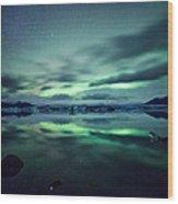 Aurora Borealis Over Lake Wood Print