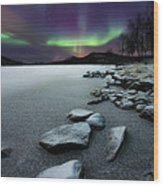 Aurora Borealis Over Sandvannet Lake Wood Print