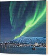 Aurora Borealis Over Tromso Port Wood Print